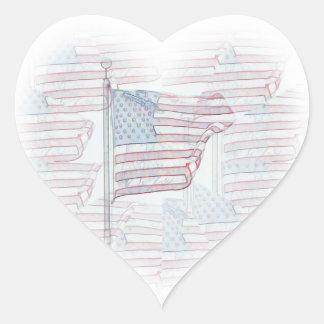 Etiqueta do coração da bandeira americana adesivo coração