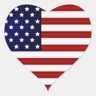 Etiqueta do coração da bandeira americana adesivo em forma de coração