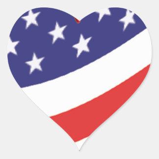 Etiqueta do coração da bandeira americana adesivo de coração