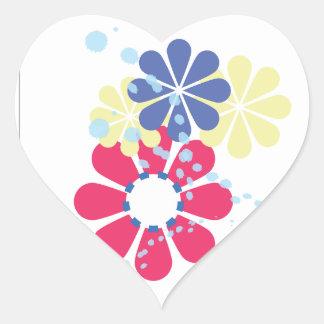 Etiqueta do coração da flor adesivo coração