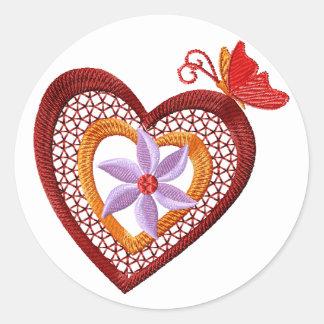 Etiqueta do coração da flor e da borboleta adesivo