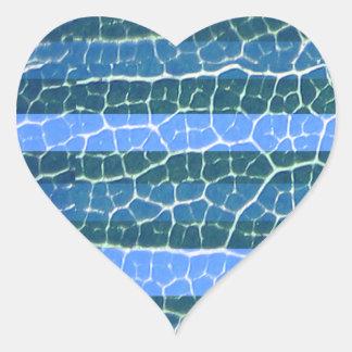 etiqueta do coração das listras azuis adesivos em forma de corações