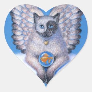 """Etiqueta do coração de Yin """"gatinho Yang"""" do anjo Adesivo Coração"""
