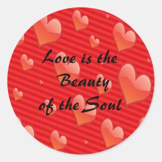 Etiqueta do coração do amor do dia dos namorados adesivo redondo