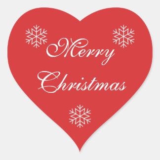 Etiqueta do coração do Feliz Natal Adesivo Coração