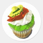 Etiqueta do cupcake de Cinco de Mayo Adesivo Em Formato Redondo
