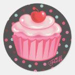 Etiqueta do cupcake de Fluffcakes pelo fluff Adesivo Em Formato Redondo