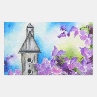 Etiqueta do envelope da flor do Birdhouse & do