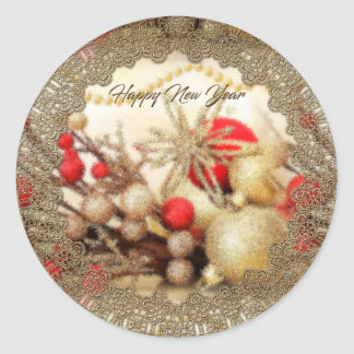 Etiqueta do feliz ano novo adesivo