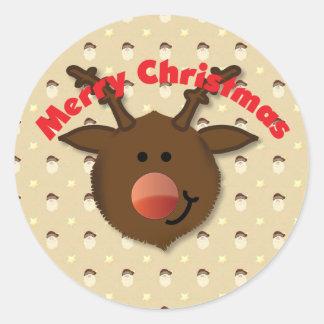 Etiqueta do Feliz Natal da rena Adesivo