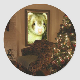 Etiqueta do feriado da doninha do Natal Adesivo