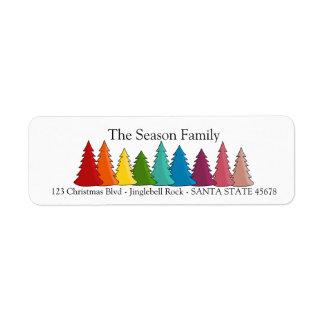 Etiqueta do feriado das árvores de Natal do
