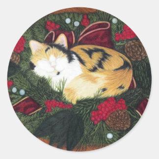 Etiqueta do gatinho do Natal Adesivo