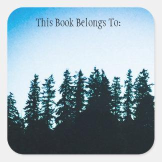 Etiqueta do livro quadrado das árvores de PNW