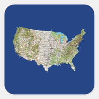Etiqueta do mapa dos EUA Adesivo Quadrado