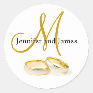 Etiqueta do monograma das alianças de casamento de adesivo