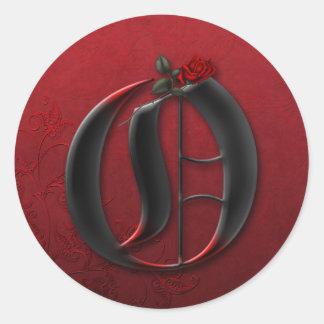 Etiqueta do monograma O do preto e da rosa vermelh Adesivos