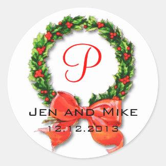 Etiqueta do monograma P do casamento de dezembro Adesivo