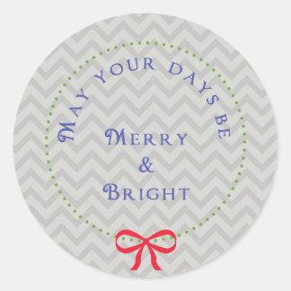 Etiqueta do Natal de Chevron da grinalda Adesivo