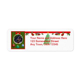 Etiqueta do Natal do Spaniel de brinquedo inglês Etiqueta Endereço De Retorno