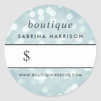 Etiqueta do preço do boutique de Bokeh | do azul