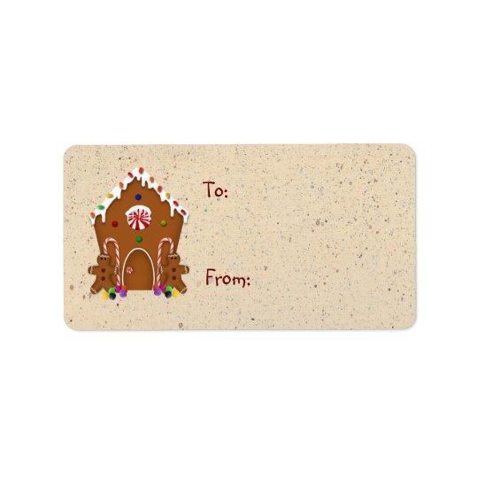 Etiqueta do presente da casa de pão-de-espécie etiqueta de endereço