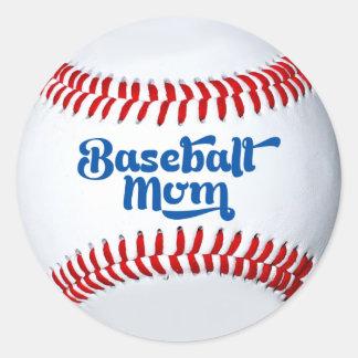 Etiqueta do presente da mamã do basebol adesivo redondo