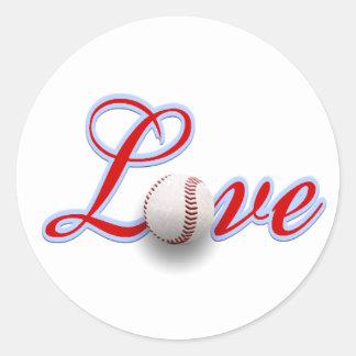 Etiqueta do presente do amor do basebol adesivo