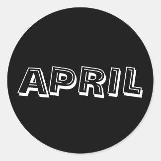 Etiqueta do preto da sopa do alfabeto de abril por