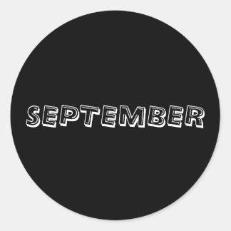 Etiqueta do preto da sopa do alfabeto de setembro