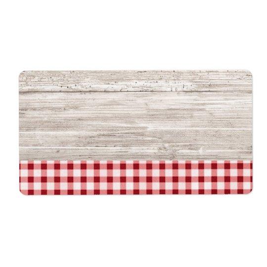 Etiqueta do produto da mesa do país