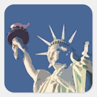 Etiqueta do quadrado do pop art da estátua da