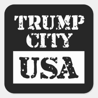 Etiqueta do quadrado preto dos EUA da cidade do Adesivo Quadrado