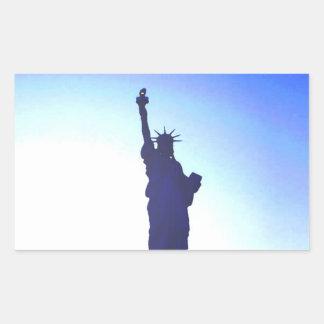 Etiqueta do retângulo da estátua da liberdade adesivo retangular