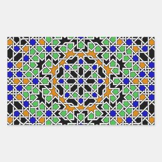 Etiqueta do retângulo do azulejo do Moorish Adesivos Em Formato Retangulares