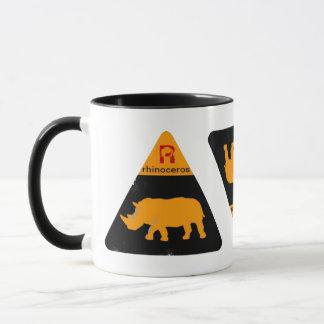 etiqueta do rinoceronte caneca