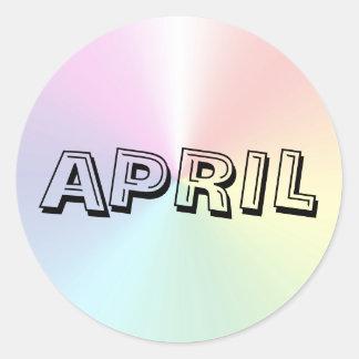 Etiqueta do Shimmer da sopa do alfabeto de abril