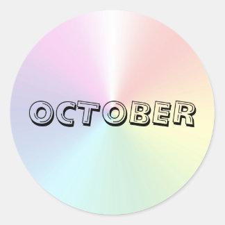 Etiqueta do Shimmer da sopa do alfabeto de outubro