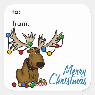 Etiqueta do Tag do presente dos alces do Natal