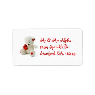 Etiqueta do urso de ursinho do dia dos namorados etiqueta de endereço