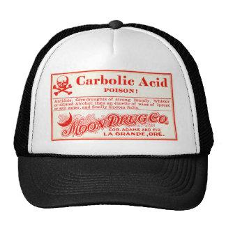 Etiqueta do veneno do ácido carbólico do vintage boné