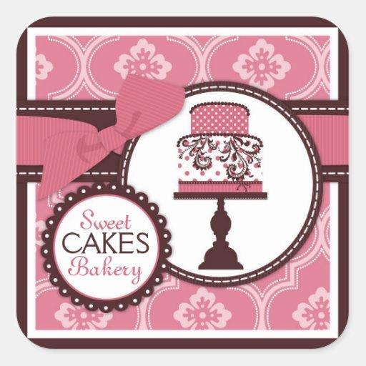 Etiqueta doce do negócio da etiqueta do bolo adesivos quadrados