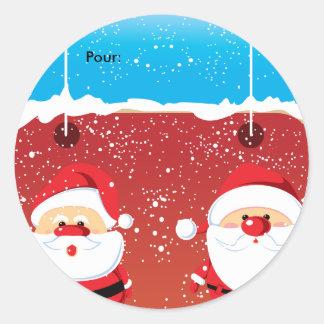 Etiqueta dos ronds de Père Noël Papai Noel Autocol Adesivo Redondo