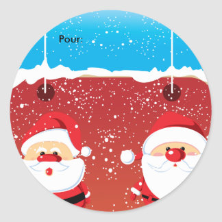 Etiqueta dos ronds de Père Noël Papai Noel Adesivo Redondo
