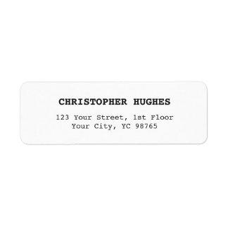 Etiqueta elegante clássica minimalista de etiqueta endereço de retorno