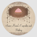 Etiqueta elegante da etiqueta do cupcake do adesivo redondo