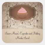 Etiqueta elegante da etiqueta do cupcake do adesivo quadrado