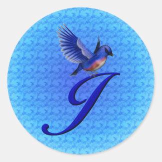 Etiqueta elegante inicial do Bluebird do monograma Adesivo