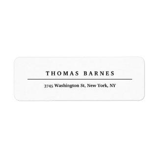 Etiqueta Elegante liso minimalista branco clássico