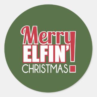 Etiqueta Elfin alegre do Natal